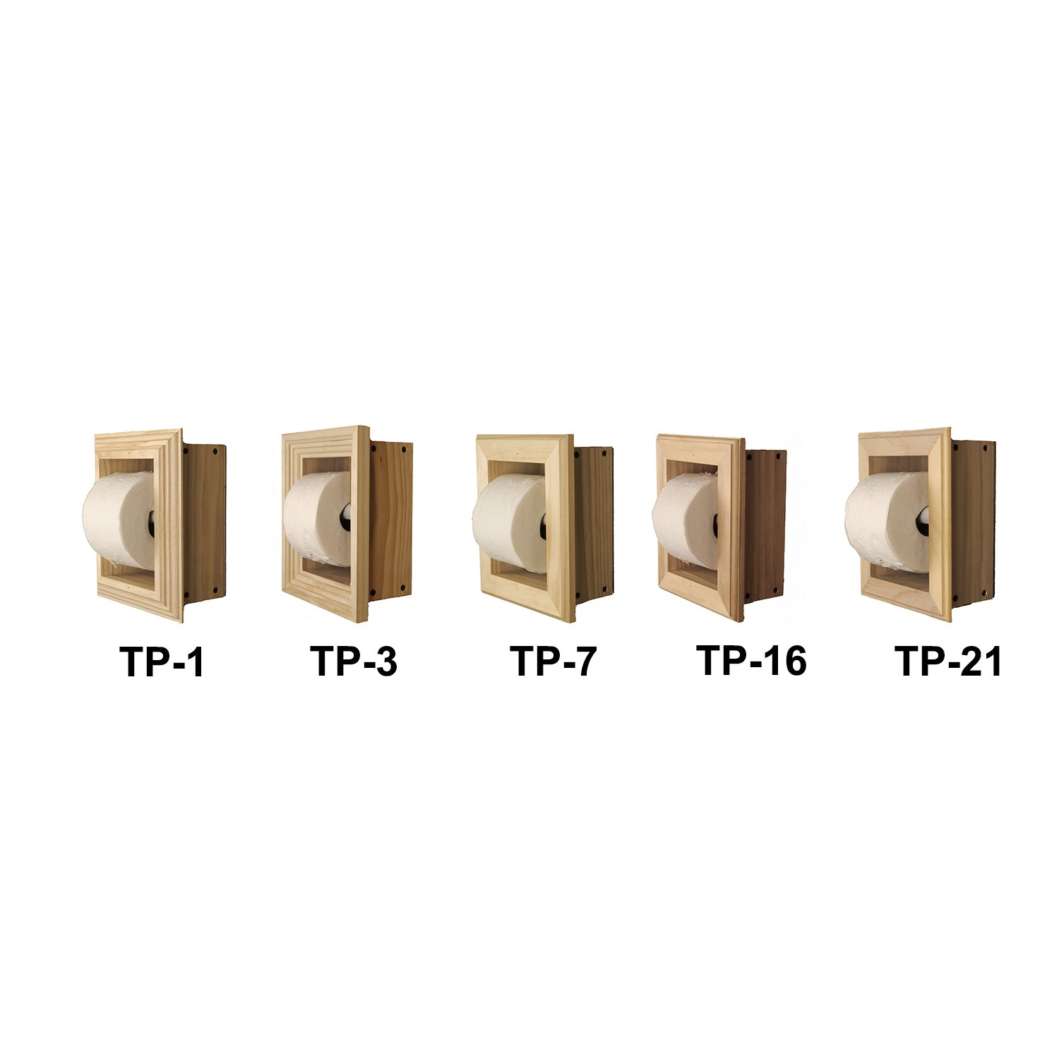 WG Wood Products Solid Wood Recessed wall Bathroom Toilet Paper Holder in Multiple Finishes, Primed/Ready To Paint
