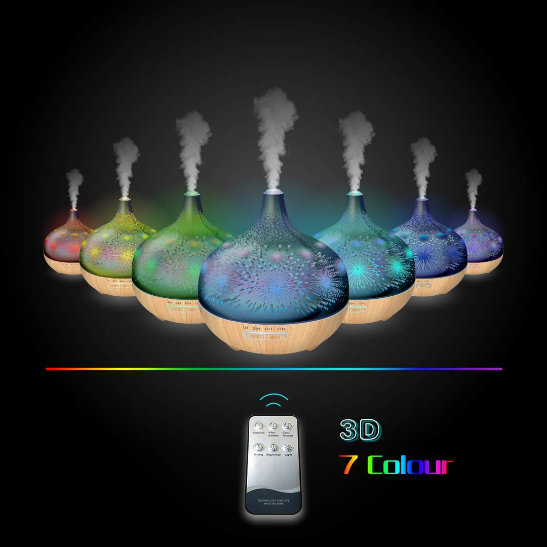 3D Essential Oil Diffuser,400ml Aromatherapy Ultrasonic Cool Mist Humidifier With Remote Control And 3D Design Glass Star Effect Pattern Essential Oil Handy Auto Shut-Off Function for Home,Baby,Office by Sleevea US (Image #3)