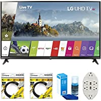LG 49 Super UHD 4K HDR Smart LED TV 2017 Model (49UJ6300) with 2x 6ft High Speed HDMI Cable, Universal Screen Cleaner for LED TVs & Transformer Tap USB w/ 6-Outlet Wall Adapter and 2 Ports