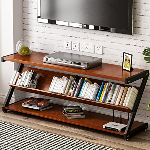 TV Stand, LITTLE TREE 60'' Large Entertainment Center with Bookshelf and Bookcase, 3-Tier Wide Media Storage Console Metal Television Table/TV Unit/TV Bench/TV Cabinet for Living Room Apartment, Cherry by LITTLE TREE