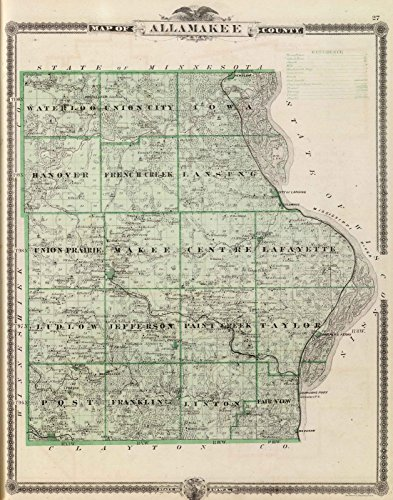 State Atlas | 1875 Map of Allamakee County, State of Iowa. | Historic Antique Vintage (Map 1875 Atlas)