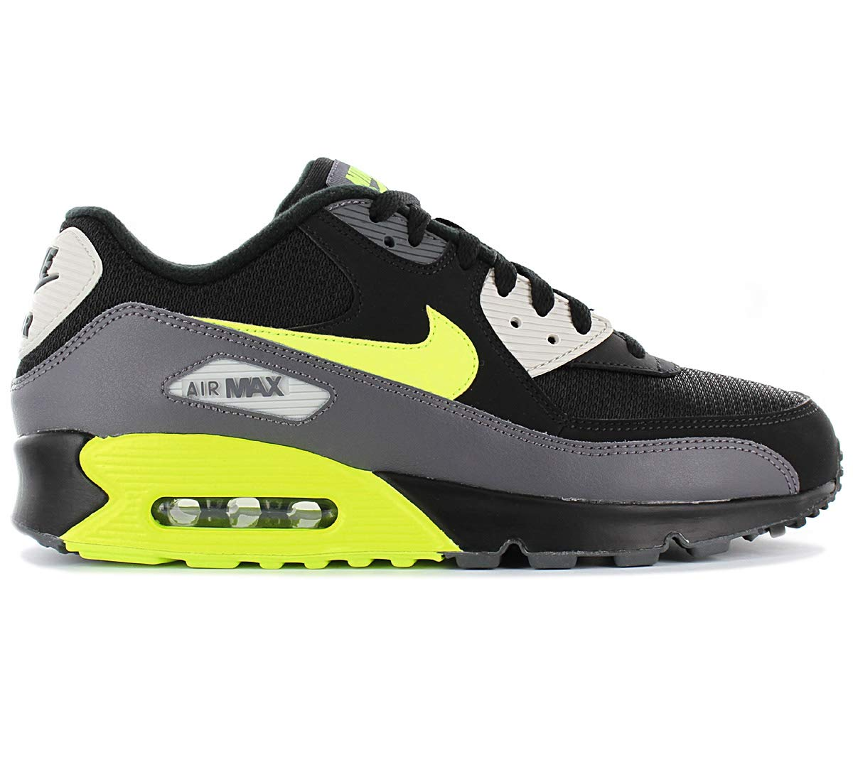 Nike Mens Air Max 90 Essential Running Shoes Dark GreyVoltBlackBone AJ1285 015 Size 8