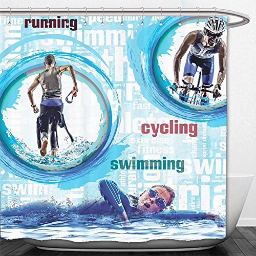 Beshowere Shower Curtain Triathlon SportActivity Running Swimming Cycling Biking Triathlete Sport Lover Home Decor Bathroom Set Runner Swimmer Design Designer ValentineDay Men White Aqua Blue.jpg