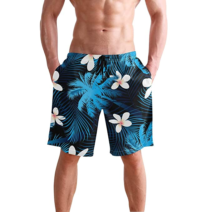 6f9ce034a8e12 Image Unavailable. Image not available for. Color  Men s Beach Swim Trunks  Tropical Palm Tree Leaf ...