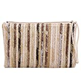 Donalworld Women Clutch Bag Summer Straw Stripe Crochet HandbagBrown