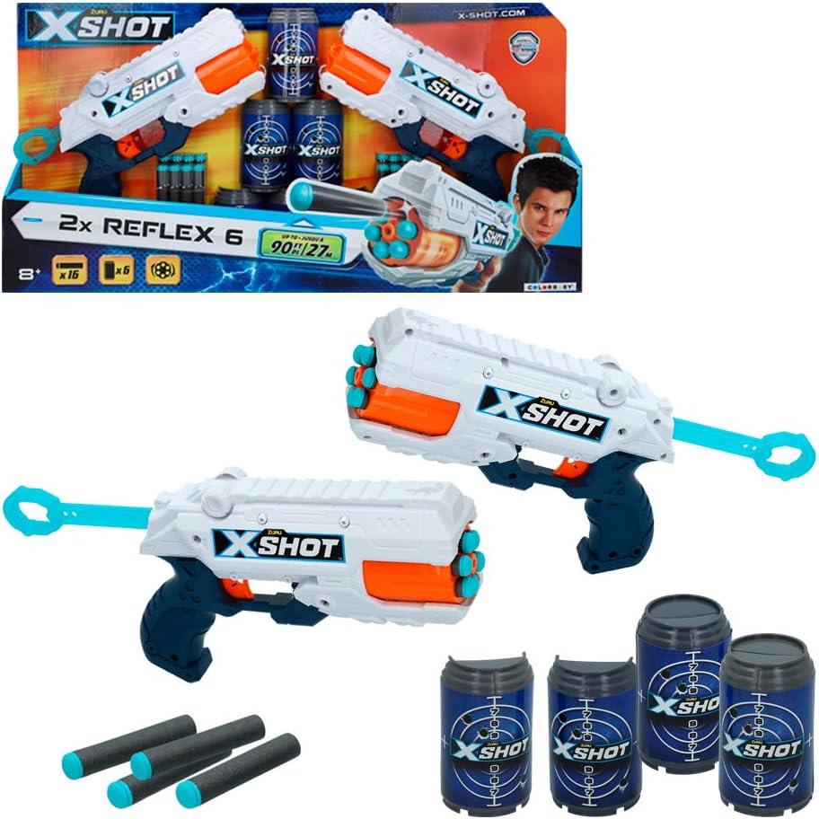 X-Shot - Pack 2 pistolas Reflex 6 X-Shot Excel + 6 botes (44770)