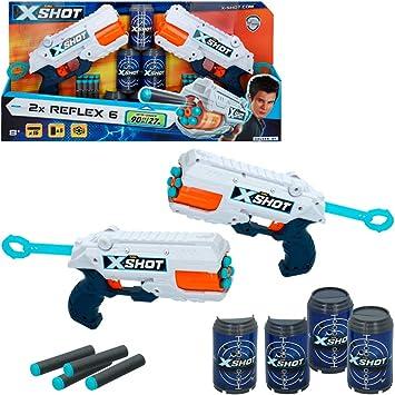 X-Shot - Pack 2 pistolas Reflex 6 X-Shot Excel + 6 botes (44770): Amazon.es: Juguetes y juegos