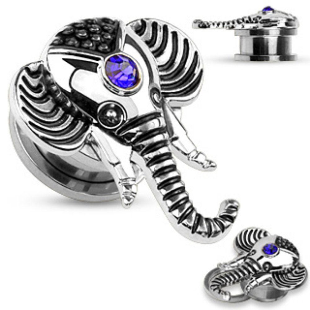 Freedom Fashion Pair of Sapphire Blue CZ Elephant Top Screw Fit Flesh Tunnel 316L S Steel
