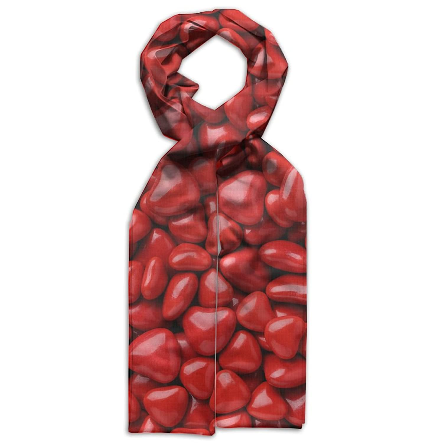 Valentine's Day Red Heart Candy Scarves Popularized Soft Baby Girls Headcarf Lightweight Printed Scarf Fashion Scarf