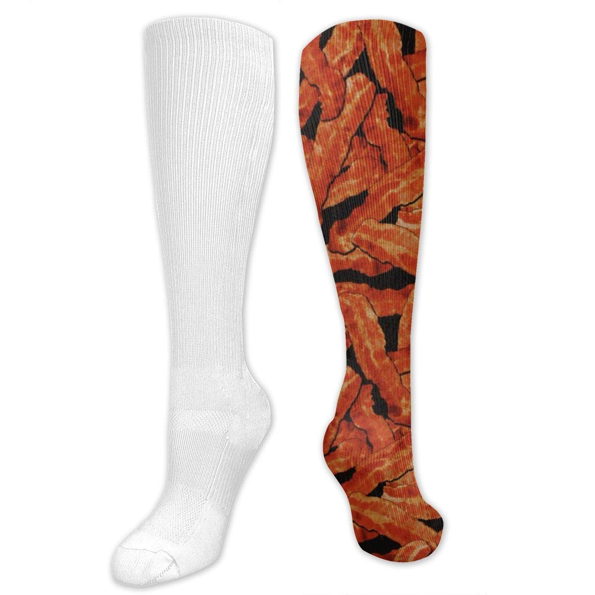 Bacon Slices Breakfast Mens//Womens Sensitive Feet Wide Fit Crew Socks and Cotton Crew Athletic Sock