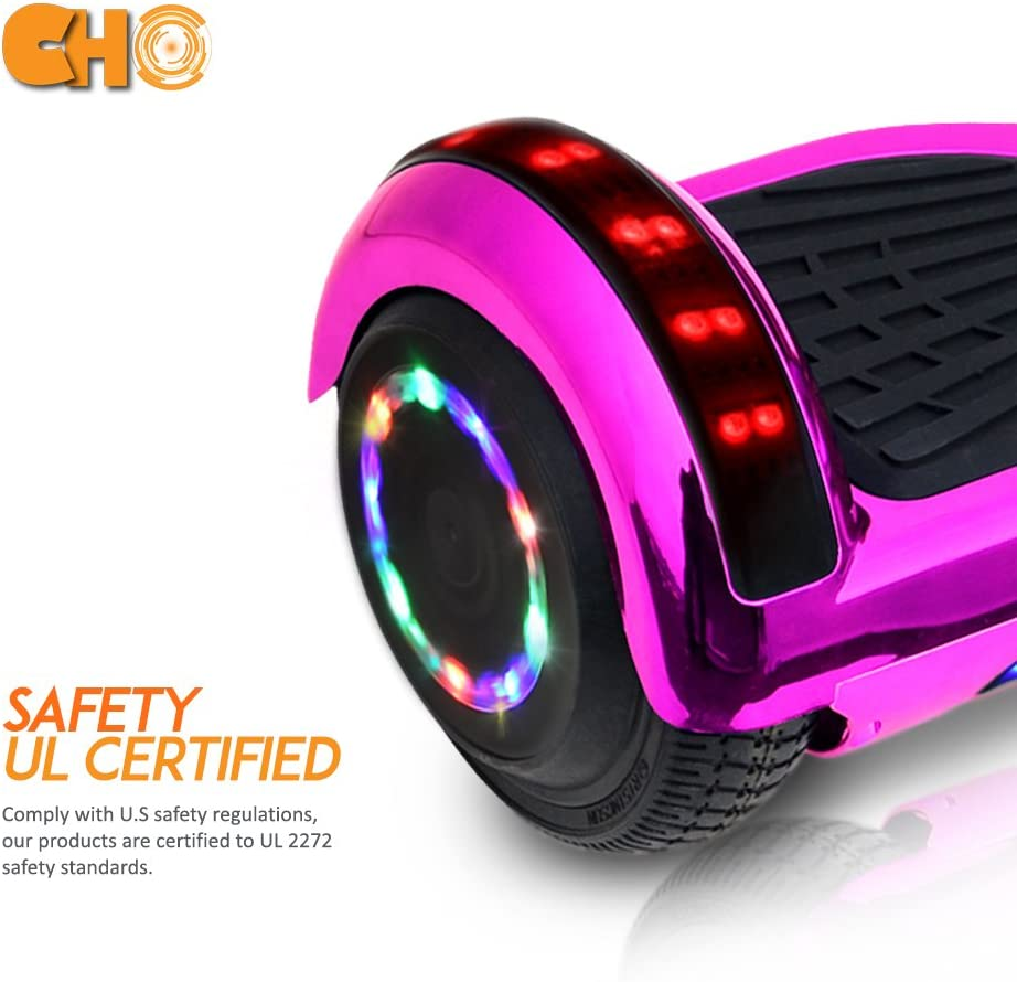 cho 6.5 inch Chrome Hoverboard Electric Smart Self Balancing Scooter with Built-in Wireless Speaker LED Wheels and Side Lights Pink
