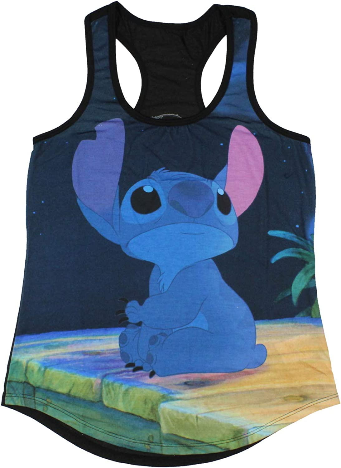 Cut up tank top tshirt graphic tee Lilo /& Stitch slashed and weaved braided shredded top racerback sleeveless