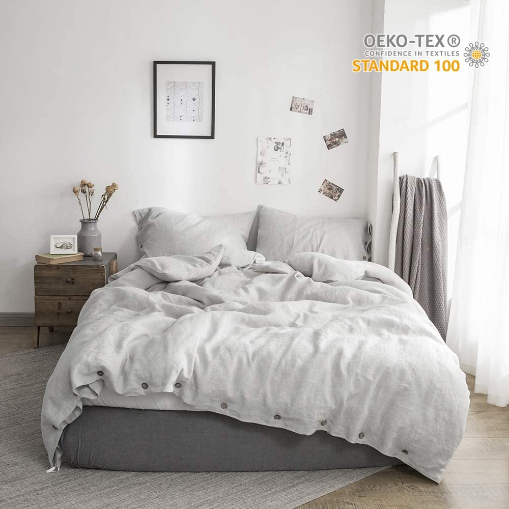 Simple&Opulence 100% Linen Duvet Cover Set Coconut Buttons Stone Washed 3pcs Bedding Set (Queen, Grey)