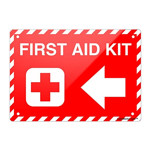 lichtworks Kit de primeros auxilios cartel de metal rojo ...