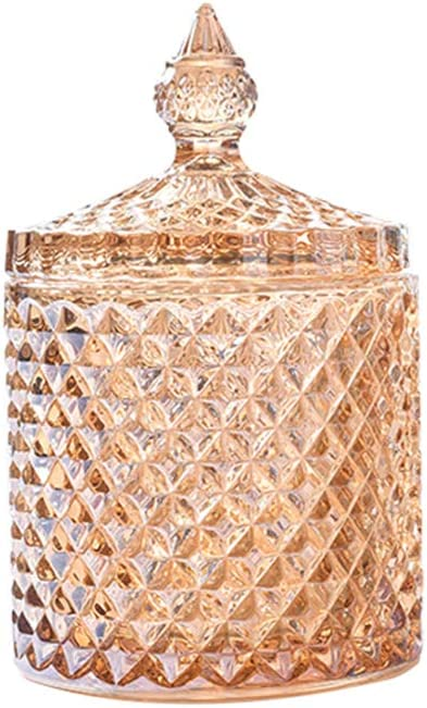 Rainie Love Home Basic Food Storage Organization Set-Crystal Diamond Faceted Jar with Crystal Lid,Suitable as A Candy Dish,Cookie Tin,Biscuit Barrel,Decorative Candy Jar (Amber, 12 oz)