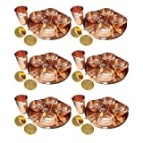 Set of 6 Prisha India Craft Dinnerware Pure Copper Thali Set Dia 12'' Traditional Dinner Set of Plate, Bowl, Spoons, Glass with Napkin ring and Coaster - Christmas Gift