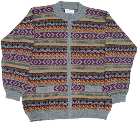 アルパカ100% セーター 幾何学柄 男性 ファスナー付き 暖かい ALCF-021