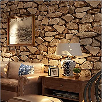 Yosot 3d Thickening Stone Effect Antique Wallpaper Living Room Restaurant Coffee Shop Background Wallpaper Dark Brown
