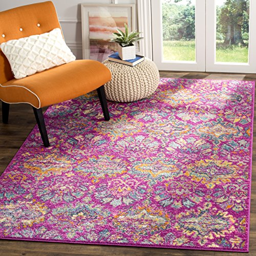 - Safavieh Madison Collection MAD144F Fuchsia Pink and Blue Bohemian Chic Damask Area Rug (6' x 9')