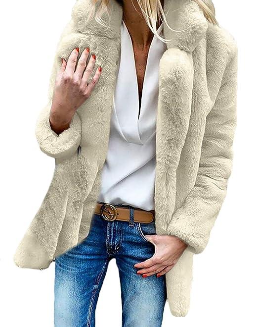 Abrigo De Piel Mujer Fashion Elegantes Anchos Piel Sintética Outerwear Manga Larga Caliente Espesar De Solapa Fashion Colores Sólidos Especial Estilo ...