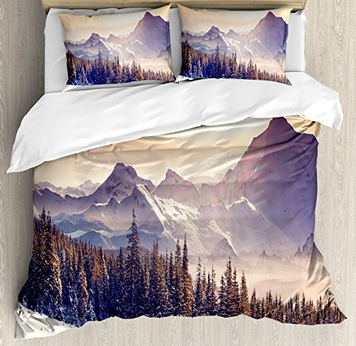 Ambesonne Nature Duvet Cover Set Queen Size, Evening Winter Landscape with Dramatic Surreal Overcast Sky and Majestic Mountains Trees, A Decorative 3 Piece Bedding Set with 2 Pillow Shams, Blue - Queen Comforter Mountain