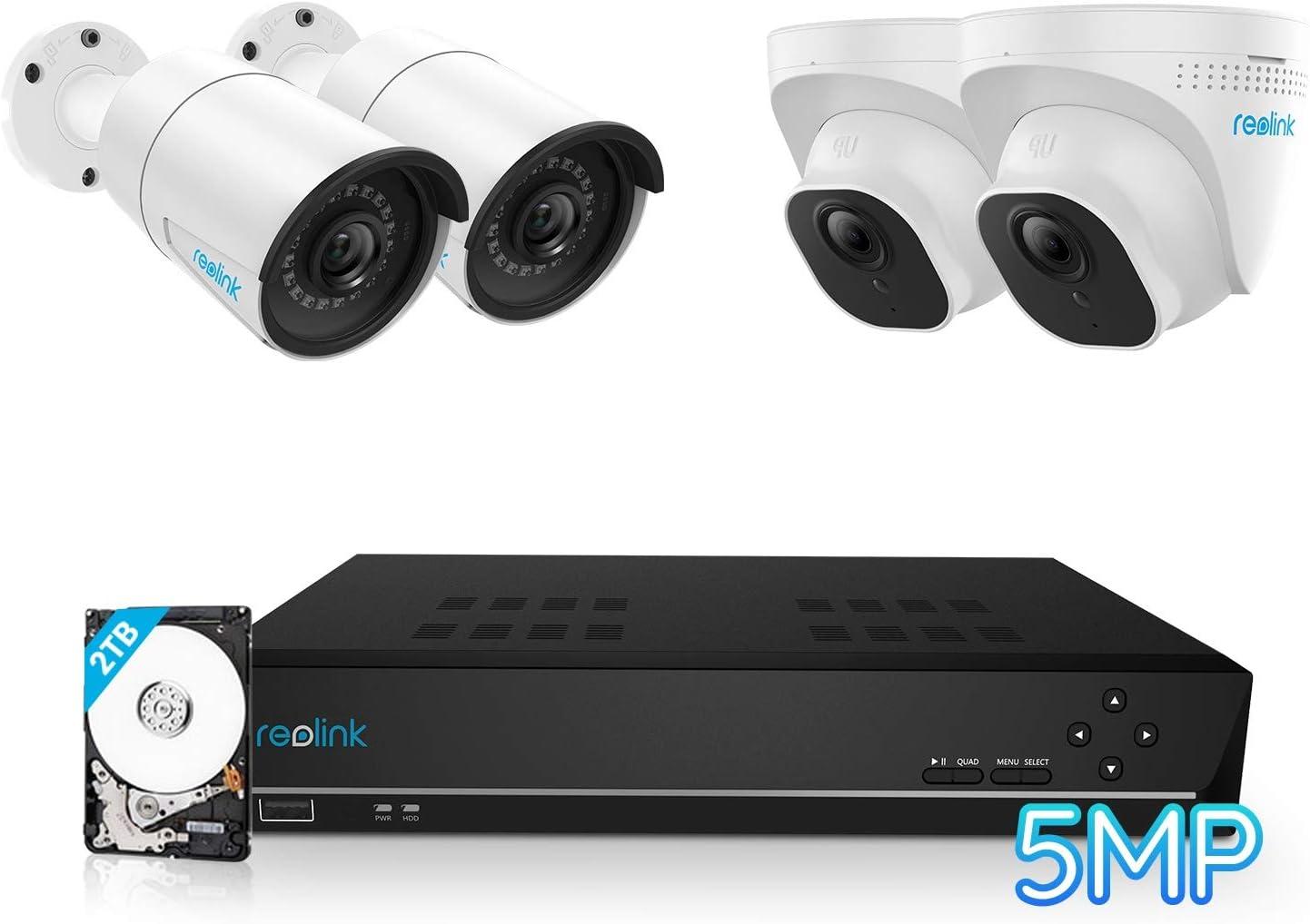 Reolink 5MP Caméra de Surveillance Extérieure, Kit Vidéo Surveillance avec 8CH 2To...