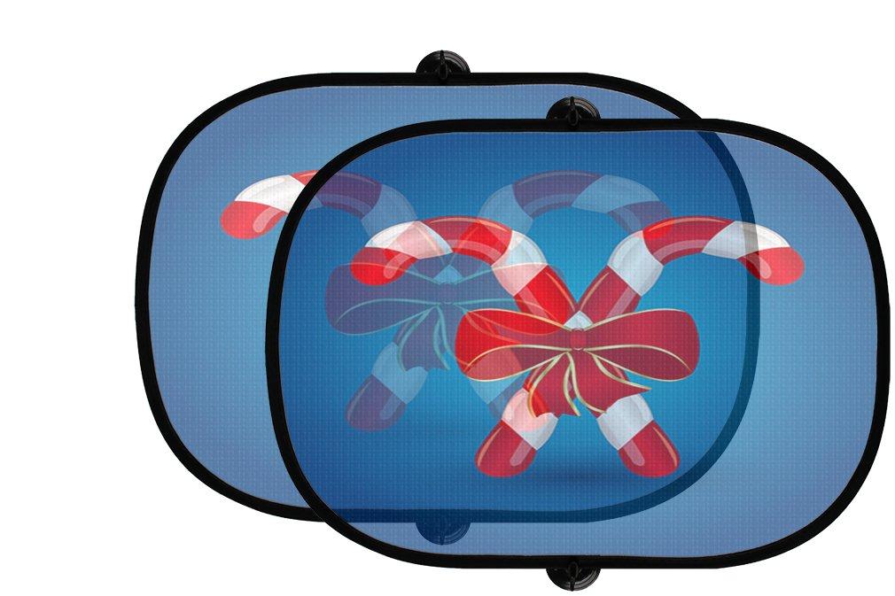クリスマスCandy Canes with赤Bow 2個折りたたみ式自動ウィンドウサンシェードメッシュ B0758Z6WG4