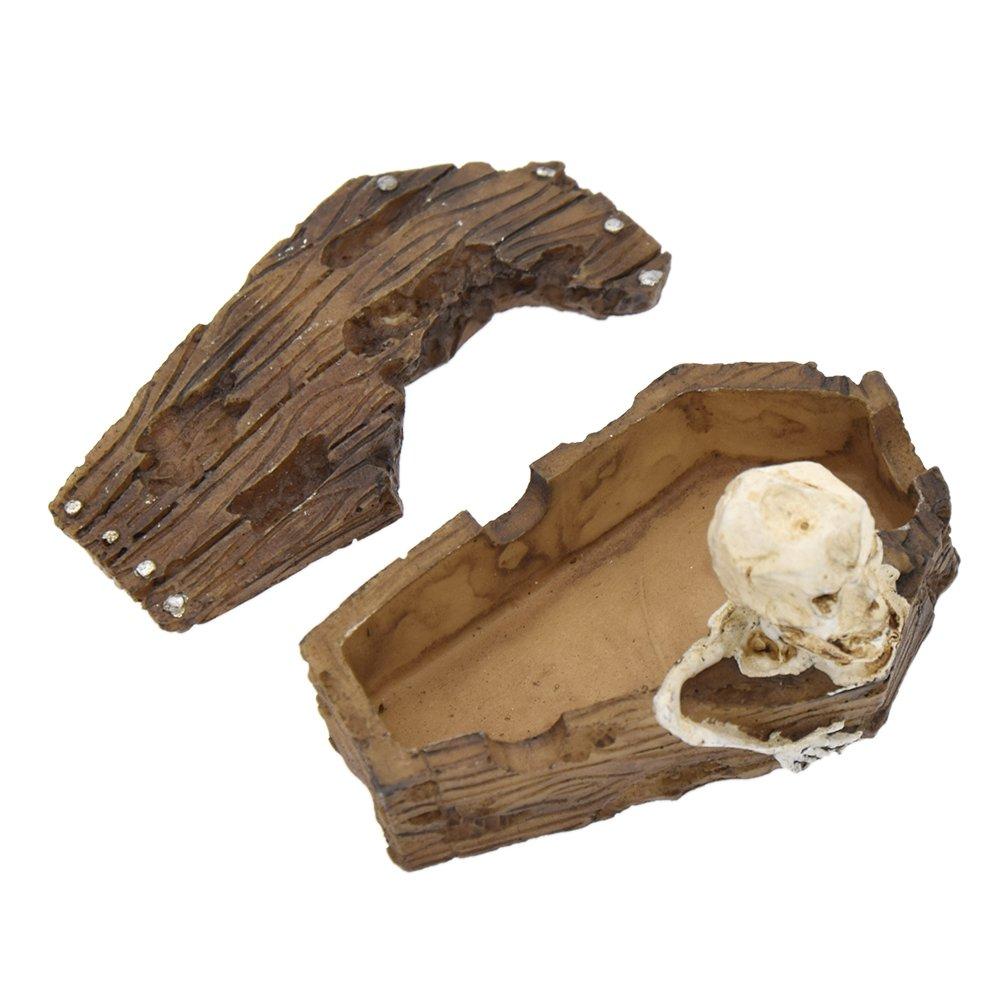 Towashine Resin Coffin Skull Decorations for Aquarium Fish Tank Sand Toys Ornaments Small