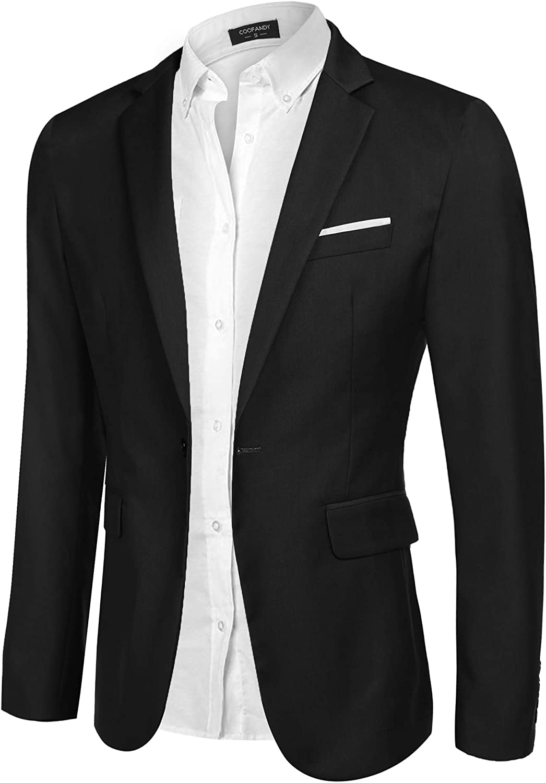 Coofandy Blazer Uomo Casual Slim Fit One Button Cappotti Sportivi Leggeri Business Blazer Giacca