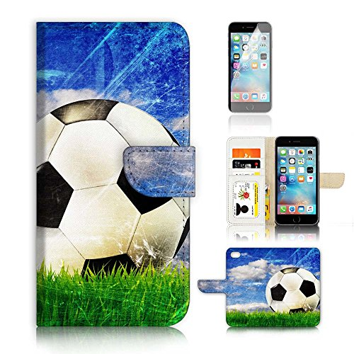 (( For iPhone 6 Plus / iPhone 6S Plus ) Flip Wallet Case Cover and Screen Protector Bundle A4002 Football Soccer)