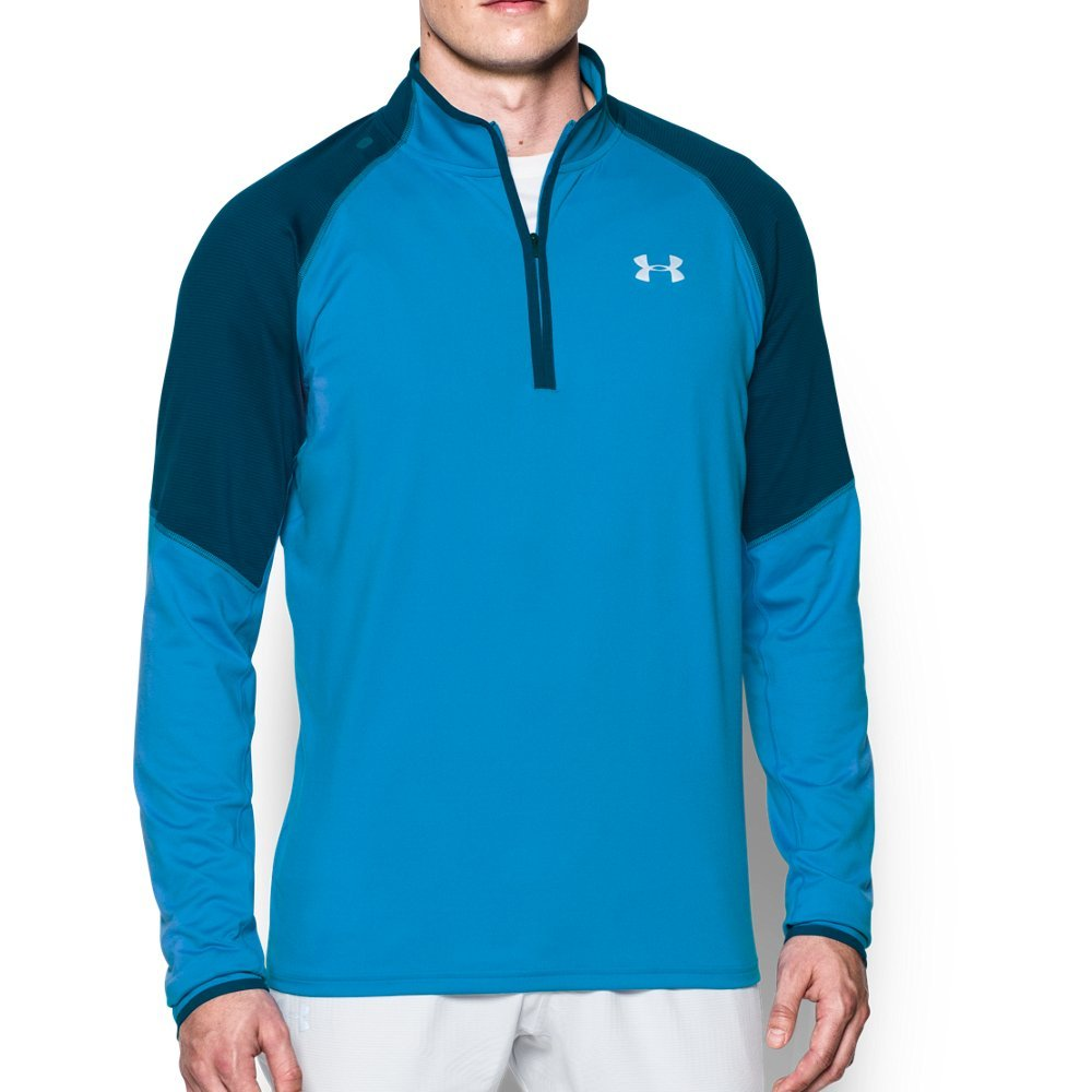 Under Armour Men's No Breaks Run 1/4 Zip, Brilliant Blue /Reflective, Medium by Under Armour (Image #1)
