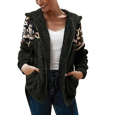 Sttech1 Fashion Women Camo Patchwork Fluffy Fleece Outwear Full Zip Long Sleeves Hooded Warm Overcoat: Clothing