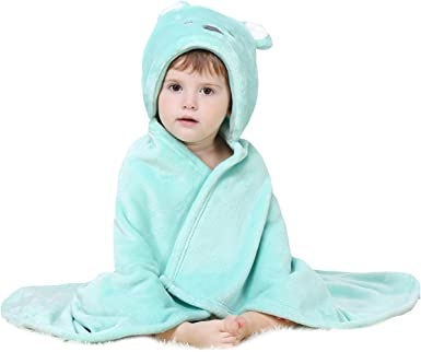 Super Soft Flannel Hooded Bath Towels 3D Animal Baby Dressing Gown URAQT Baby Bathrobe Animal Baby Bath Robe Sleepwear Baby Gifts for 0-3 Years Old