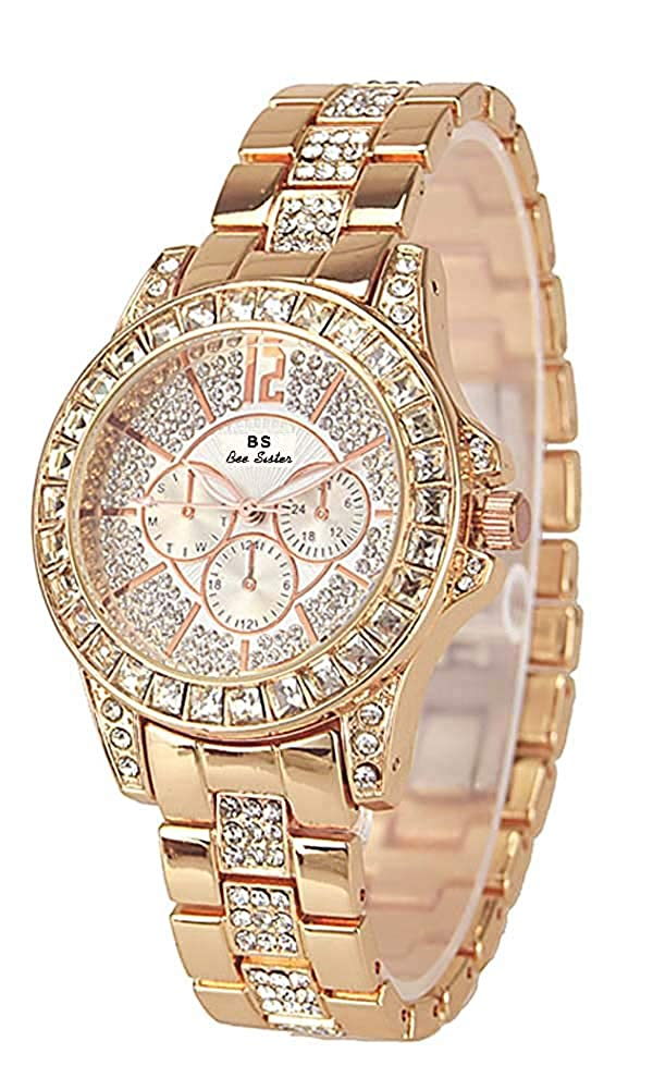Dyshuai Women s Shining Bling Diamond Crystal Rhinestone Accented Wrist Watch