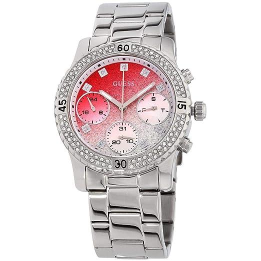 10d21787b645 GUESS Women s 38mm Steel Bracelet   Case Swiss Quartz Red Dial Watch  W0774L7  Amazon.co.uk  Watches