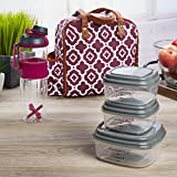 fresh fit containers - Fit & Fresh Wichita Insulated Lunch Bag with Reusable Container Set and 24 oz Active Sport Bottle (Maroon Ikat Geo)