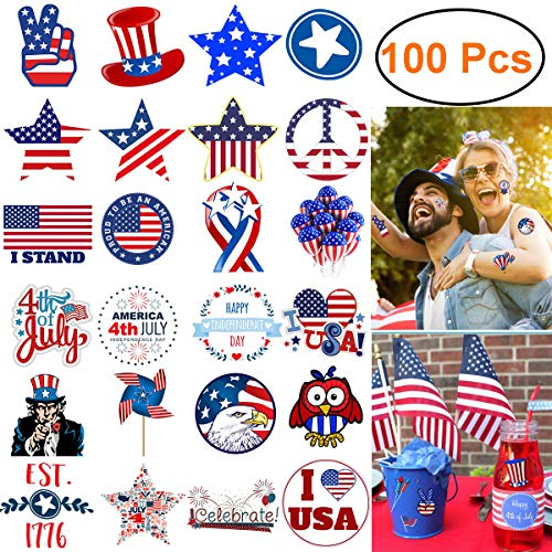 July 4th Decorations Stickers, 100 Pcs Not Repeated Independence Day Patriotic Décor Tattoos USA American Flag/Star/Uncle Sam Hat Windows Clings Waterproof Stickers for Kids Adult Laptop Car -