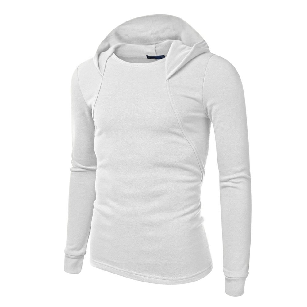 Mlotus Mens Pullover Slim Fit Casual White Hoodies Outerwear Fleece Hooded