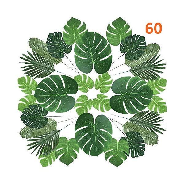 CADNLY Tropical Palm Leaves Decorations – 60 pcs 6 Kinds Fake Leaves for Luau Jungle Theme Party Supplies Safari Decorations Artificial Tropical Leaves for Dinosaur Hawaiian Party Table Decoration
