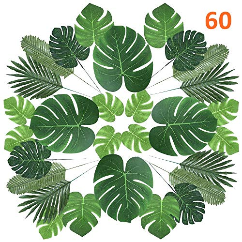 CADNLY Tropical Palm Leaves Decorations - 60 pcs 6 Kinds Fake Leaves for Safari Luau Party Supplies Hawaiian Party Decorations - Artificial Tropical Leaves for Dinosaur Jungle Party Table ()