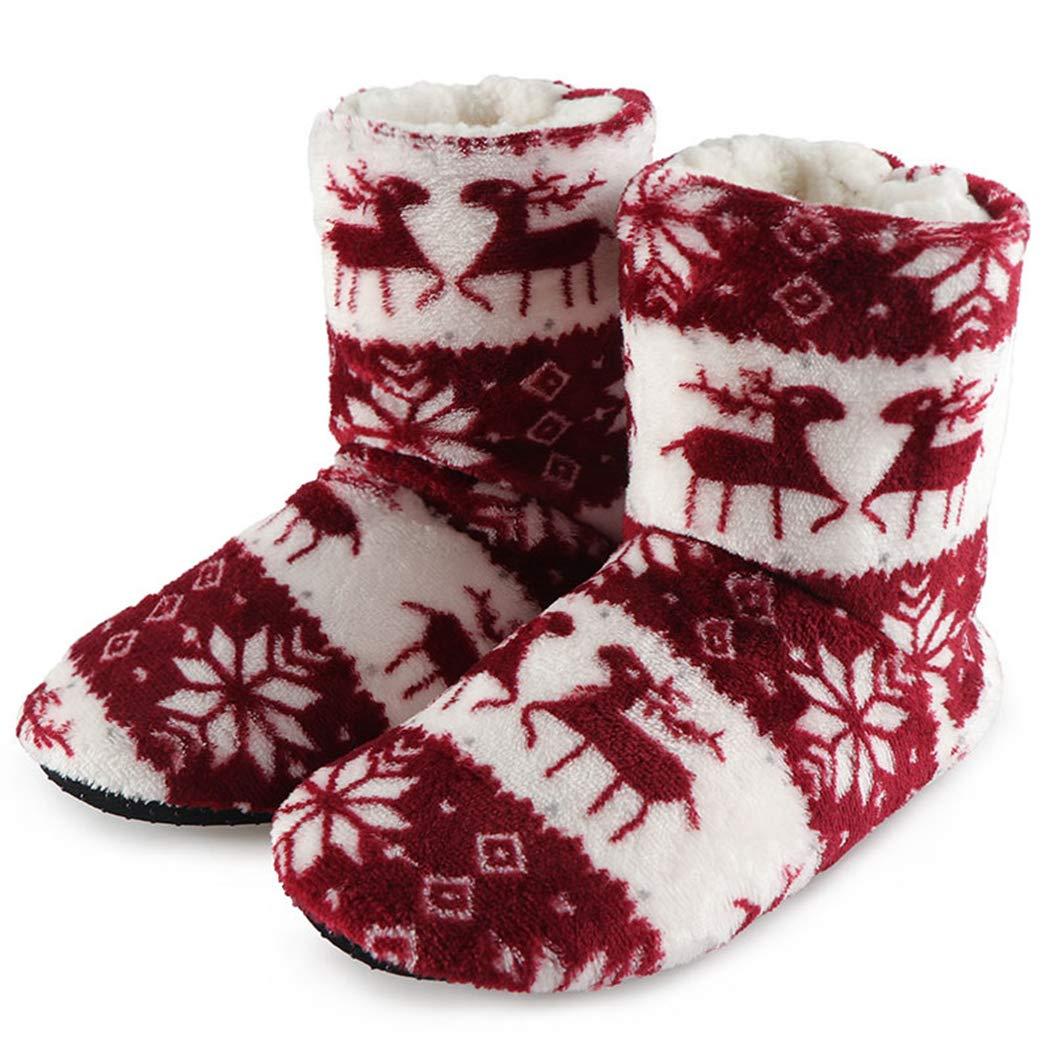 Zapatos de Invierno Mujer Casa Navidad Elk Calcetines de Interior Cálidos Botines de algodón Plush Fleece Botas Antideslizantes: Amazon.es: Zapatos y ...