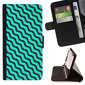 GIFT CHOICE / Billetera de cuero Estuche protector Cáscara Funda Caja de la carpeta Cubierta Caso / Wallet Case for Apple Iphone 4 / 4S // Turquoise Waves Wavy Pattern //