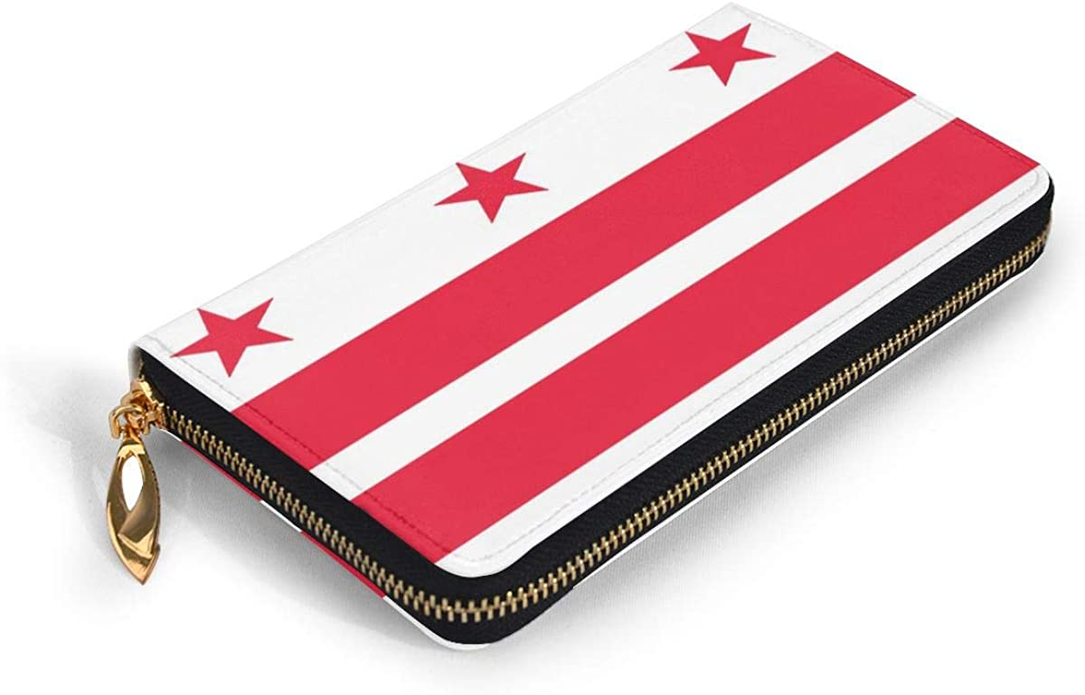 Washington Dc Flag Leather Clutch Waterproof Card Holder With Zipper Large Capacity Wristlet Wallet Durable Envelope Clutch Portable Purse Daily Using