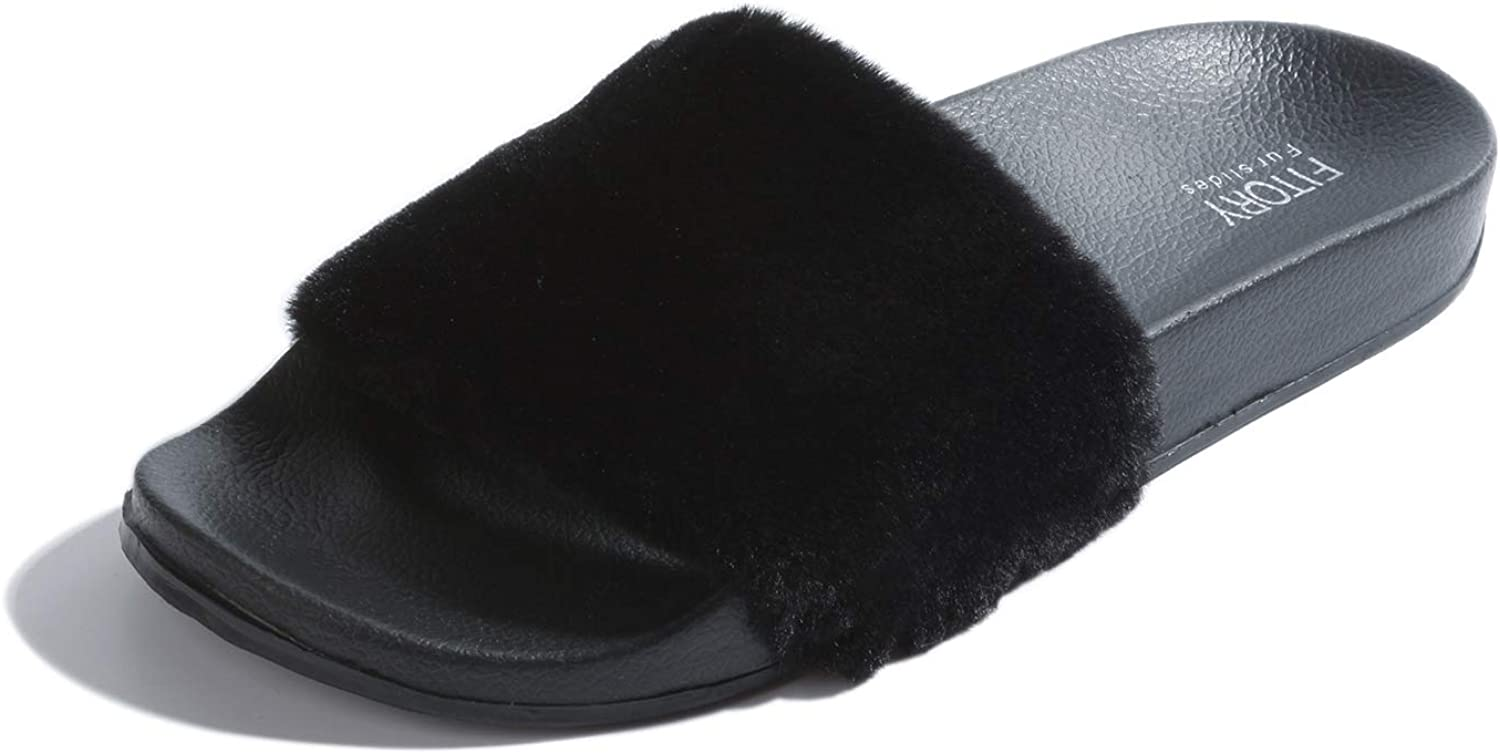 | FITORY Women Slides Slippers, Faux Fur Slide Slip On Flats Sandals with Arch Support Open Toe Soft Girls Indoor Outdoor Shoes | Slides