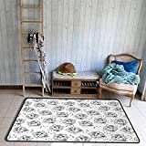 Outside The Door Rug Black and White Cute Dog Pattern with Buckle and Collar Monochrome House Pet Illustration Durable W67 xL79 Black White