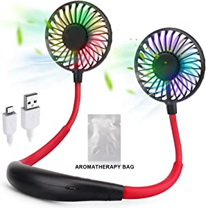 Hand-Free Personal Fan, Portable Neck Fan, USB Rechargeable Personal Hanging Neck Fan with 7 LED changable Light, 3 Level Air Flow, 360° Free Rotation Mini Sport Fan for Traveling Outdoor Office