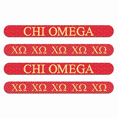 Chi Omega Nail File (4pk)—Medium & Fine Grit. Durable design. Art stays true with use. Sorority gifts for Big Little Sister, Bid Day, gift bags, gift baskets, stocking stuffers—by (Sorority Bid Day)