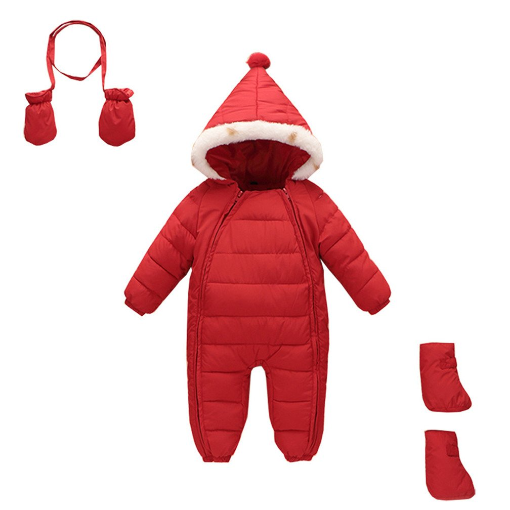 Stillshine 3Pcs Newborn Baby Hooded Puffer Romper Snowsuit Winter Warm Down Thick Jumpsuit by