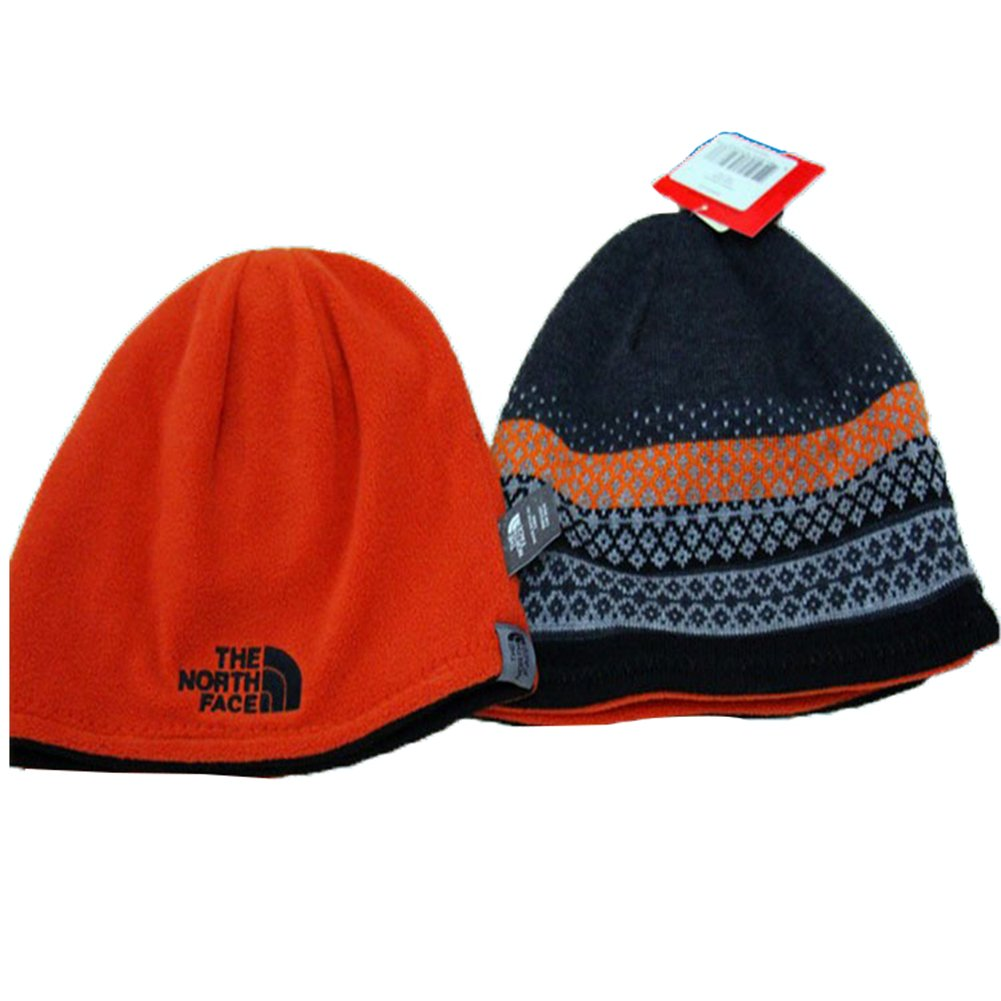 4b03596498fbc4 The North Face Winter Thicken Polar Fleece Knit Ski Reversible Beanie Hat  (One size, Orange)