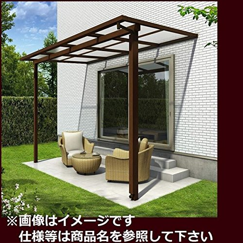 YKK ap サザンテラス フレームタイプ 関東間 1500N/m2 2間×4尺 ポリカ屋根  ショコラウォールナット/アースブルー B01E31VTY2 本体カラー:ショコラウォールナット/アースブルー